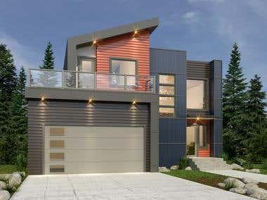 2 Storey Residence Exterior rendering for Arjom Design Tech