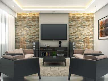 3D Interior design and renderings for Hussain Alkhonaizi