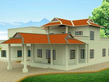 3D RENDER OF KERALA HOUSE