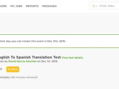 First place in English to Spanish translation test! (Upwork)