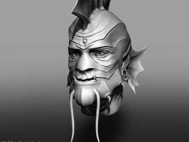 Aquatic ZBrush Creature Head Sculpt