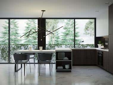 Design and visualization of the kitchen in the villa