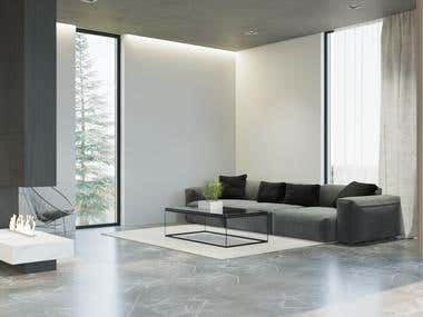 Design and visualization of the living room in the villa