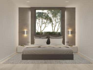 Design and visualization of the bedroom in the villa