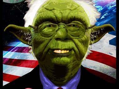Bernie/Yoda Character Painting