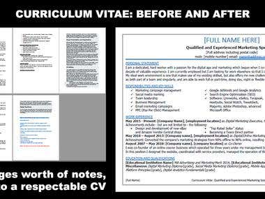 Incredible Curriculum Vitae / Resume Transformation!!!