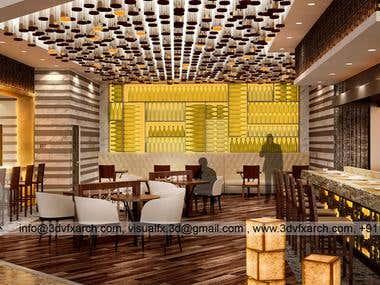 Mumbai Barasserie Restaurant 3D Interior Rendering