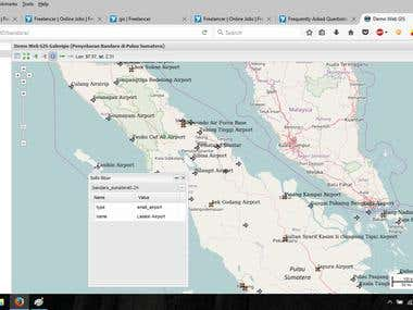 Airport map in Sumatera Island with Web GIS application