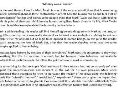 """Essay """"Monkey was a Human"""""""