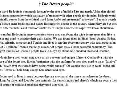 "Essay about ""Bedouin Culture"""