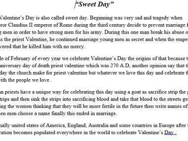 """Essay about """"Valentines day"""""""