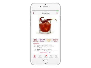 MBWS Cocktail Profit Calculator iOS App, 2017