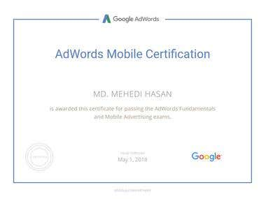 Google AdWord Mobile Certification.