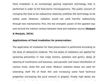The impacts of food preservation through irradiation