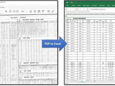PDF to Excel Manual Conversion