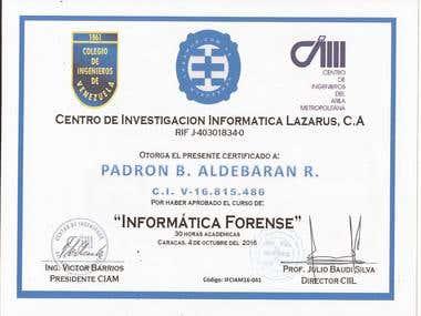 Certificado de Curso Informatica Forense