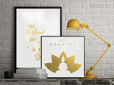 Typography Gold foil