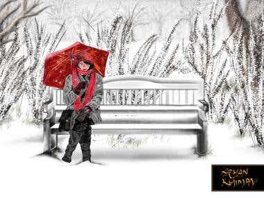 Girl in the snow - DIGITAL ART