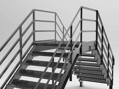 Aluminum industrial stairs
