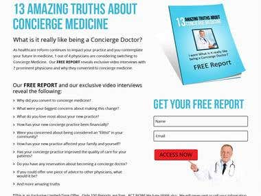Landing Page design for Concierge Medicine Free Report