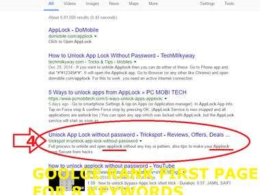 SEO for Keyword   Google Rank on First Page
