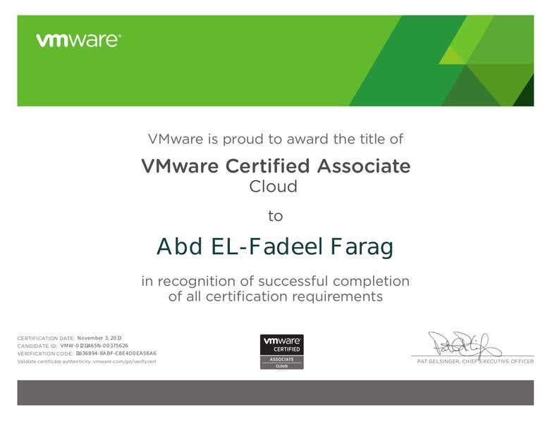 VMware Certified Associate Cloud | Freelancer