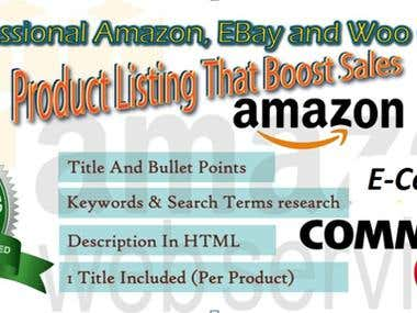 Amazon & eBay product listing specialist