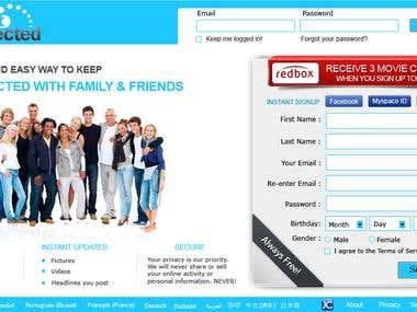 Winning home page design for justconnected website