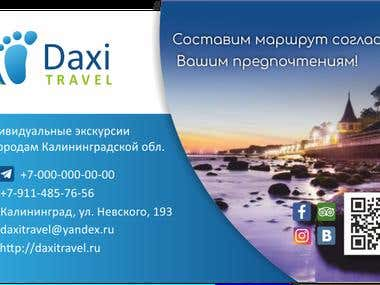 Logo and business cards for travel company DAXI Travel
