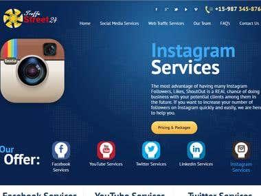 TrafficStreet 24 Website Developed for Social Media Services
