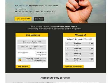 Design mockup fo Landing page for wed-design studio