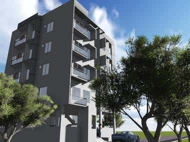 Design of a four storied Apartment building for a client.
