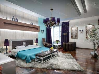 Bedroom design and 3D realistic visualization