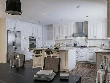 Kitchen design and 3D realistic visualization