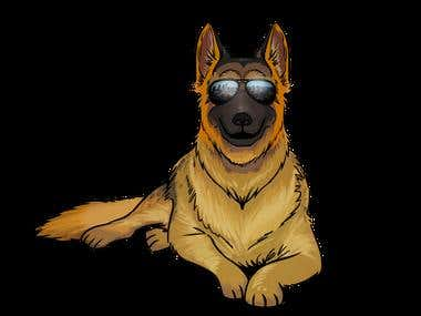 German Shephard Vector