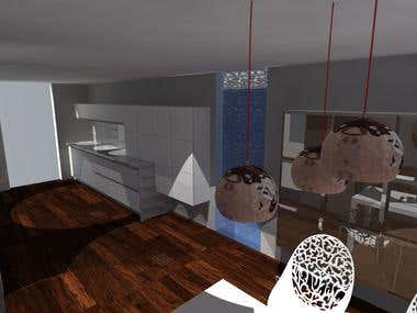 Kitchen designed, drawned in 2D, 3D, Modeled and rendered.