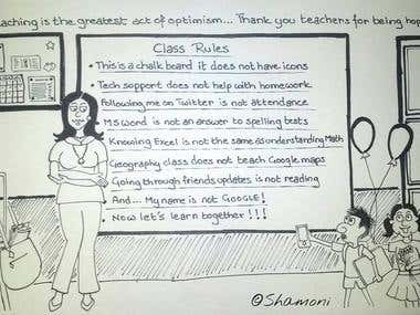 Teacher's day cartoon