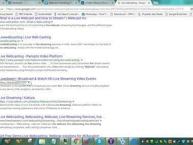 Top 4 Ranking Google ' Live Webcasting""