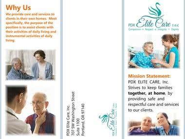 Tri-fold brochure for home nursing care.