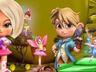 cartoon characters , portrait, caricature
