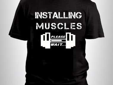 installing muscles please wait - t-shirt