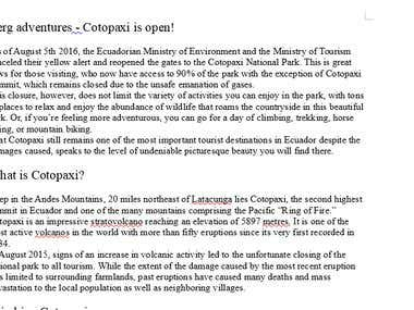 Blog About Cotopaxi