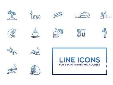 Linear icons for the website with sea activities and courses