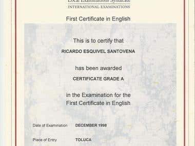 Cambridge FCE Certification Grade A