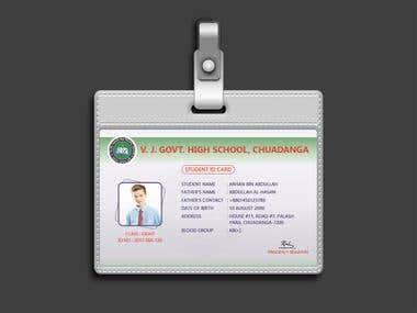 FLAT, MINIMALISTIC SCHOOL ID CARD DESIGN TEMPLATE