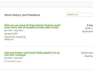 feedback in upwork account