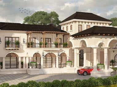 Villa design (Mediterranean style architecture )