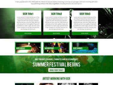 website design for a music entertainment company