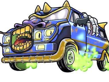 t-shirt design Ghost truck