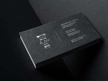 AJW logo and business card